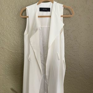 Zara long white vest with slits